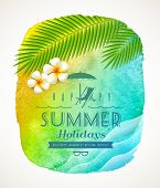 Summer holiday greeting - watercolor background banner with sea waves, palm tree branches and frangi
