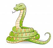picture of green snake  - illustration of a grinning green cartoon snake - JPG