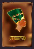 picture of nefertiti  - Vector art of Queen Nefertiti on a Papyrus with her name on a hieroglyph - JPG