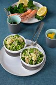 foto of norway lobster  - Broccoli salad with pearl barley and Norway lobster - JPG