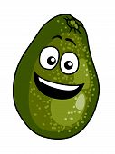 image of googly-eyes  - Happy ripe green cartoon avocado pear with a big smile and googly eyes perfect for a summer salad - JPG