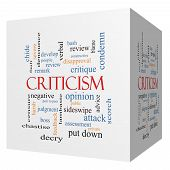 Criticism 3D Cube Word Cloud Concept