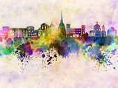pic of turin  - Turin skyline in artistic abstract watercolor background - JPG