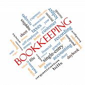 stock photo of financial audit  - Bookkeeping Word Cloud Concept angled with great terms such as financial records ledger and more - JPG
