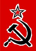 stock photo of communist symbol  - Hammer and Sickle grunge effect set on a red background - JPG