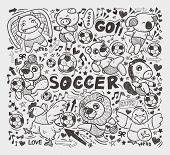 doodle animal soccer player element
