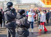 Russia, Samara - March 2, 2014: Police Patrol At The Shrovetide Celebration. Maslenitsa Or Pancake W