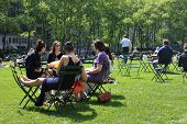 People Enjoying A Nice Day In Bryant Park