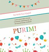 image of purim  - Jewish holiday Purim hipster greeting card design - JPG