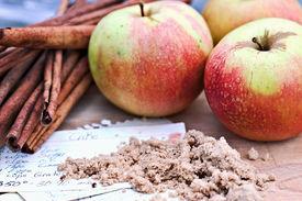 foto of recipe card  - Apples cinnamon bark and brown sugar with recipe - JPG