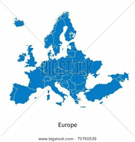 Detailed vector map of Europe Political map with borders picture