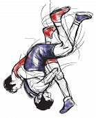 Постер, плакат: Greco roman Wrestling An Hand Drawn Vector Illustration