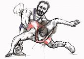 pic of wrestling  - An hand drawn vector illustration  - JPG