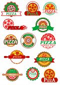 stock photo of food logo  - Fresh italian pizza labels - JPG