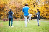 foto of tai-chi  - Tai chi training in a park in autumn - JPG