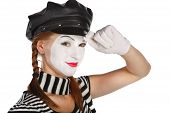 pic of clown rose  - Happy mime comedian isolated on white background - JPG