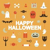 stock photo of tombstone  - Set of halloween icons - JPG