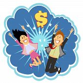 pic of leaping  - Lottery winners celebrating leaping in the air and cheering with delight in front of an explosion with a dollar sign depicting their win  vector bubble illustration - JPG