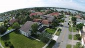 image of middle class  - Suburban middle class  neighborhood in Florida aerial view - JPG