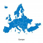 foto of political map  - Detailed vector map of Europe Political map with borders - JPG