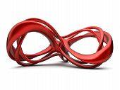 stock photo of infinity symbol  - Futuristic red 3d infinity sign illustration - JPG