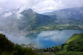 foto of annecy  - looking down on Lake Annecy through the clouds - JPG