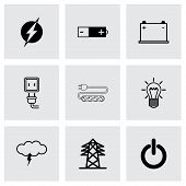 stock photo of multimeter  - Vector black electricity icons set on grey background - JPG