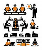 stock photo of manufacturing  - Manufacturing process assembly workers vector icons - JPG