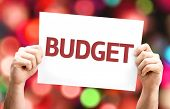 picture of budget  - Budget card with colorful background with defocused lights - JPG
