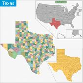 stock photo of texas map  - Map of Texas state designed in illustration with the counties and the county seats - JPG