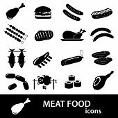 pic of meat icon  - meat food icons and symbols set eps10 - JPG
