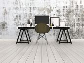 pic of workstation  - 3D Rendering of Modern black and grey office interior with a trestle desk with desktop monitor - JPG