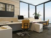pic of work bench  - 3D Rendering of Spacious work environment in a modern office with work stations at a long table overlooked by a large glass window with views of the sky - JPG