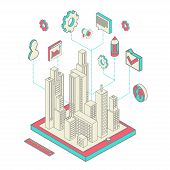 stock photo of isometric  - Isometric vector illustration of smartphone application with the city - JPG