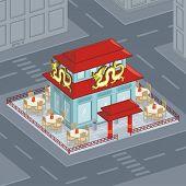 pic of chinese restaurant  - Cartoon illustration of Chinese restaurant - JPG