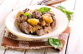image of liver  - Liver with apple and onion on plate - JPG