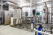 stock photo of pharmaceutical  - Water conditioning room and control way equipment on pharmaceutical industry or chemical plant - JPG