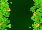 foto of triskele  - Dark green vector background with clovers - JPG
