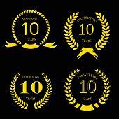 picture of ten years old  - ten  years anniversary laurel gold  wreath - JPG