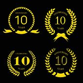 image of ten years old  - ten  years anniversary laurel gold  wreath - JPG