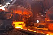 stock photo of blast-furnace  - Blast furnace in workshop of metallurgical plant - JPG