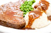 picture of mashed potatoes  - roast beef dinner with mashed potatoes gravy and fresh vegetables - JPG