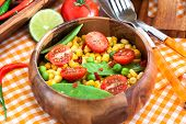 picture of sweet pea  - Fresh salad with sweet corn green peas tomato and chilli pepper