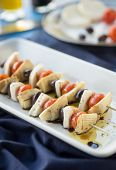 pic of antipasto  - Vegetarian antipasto kepbobs drizzled with olive oil and balsamic vinegar - JPG