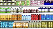 stock photo of refrigerator  - Supermarket refrigerator with various products  - JPG