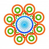 stock photo of indian flag  - vector creative indian flag design made with tri color circles - JPG