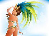 foto of beauty pageant  - A beautiful carnival girl wearing a festival costume is dancing - JPG
