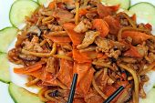 foto of chinese parsley  - chinese food with steamed vegetables with meat - JPG