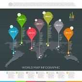 foto of continent  - World map infographic with map pointers  - JPG