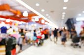 picture of shopping center  - Abstract blurred people walking in shopping center - JPG